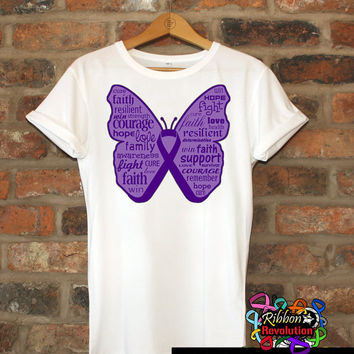 Purple Butterfly Awareness Ribbon Shirts For Alzheimers Disease, Crohns Disease, Cystic Fibrosis, Lupus, Pancreatic Cancer and More