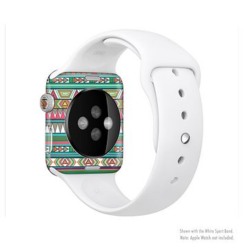 The Tribal Vector Green & Pink Abstract Pattern V3 Full-Body Skin Set for the Apple Watch