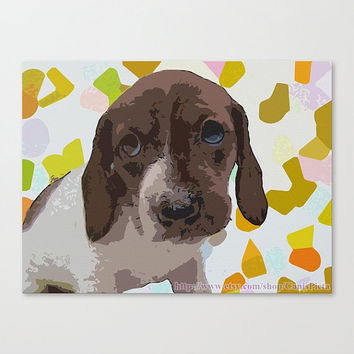 "Dachshund (10"" x 8"") Pop Art Print - ""Spreezy"" - Lime Green, Dog, Photography, Wall Art, Home Decor, Wiener Dog, Doxie, Hot Dog, Piebald"