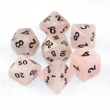 Stone Dice Rose Quartz 12mm Set and Bag - Dice Sets - Game Master Dice