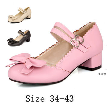 Ladies Low Med heel Mary Janes Shoes Square Women Pumps Office Career Shoes Med High Heels Kitten Heels Plus Size 34-40.41.42.43