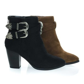 Luna Black By Delicious, Western Cowboy Chunky Block Heel Ankle Bootie, Women Cowgirl Inspired Shoes