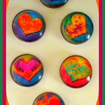 Magnets -  Set of 6 - Hearts - Heart Magnet - Love - 1 Inch Domed Glass Circles