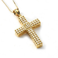 14K Yellow Gold Cubic Zirconia Cross Pendant, Cross Pendant, Cubic Zirconia Pendant, Religious Pendant, Cross Jewelry, Gold Cross