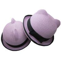 ROMWE | Bowknot Panda Ear Straw Hat, The Latest Street Fashion