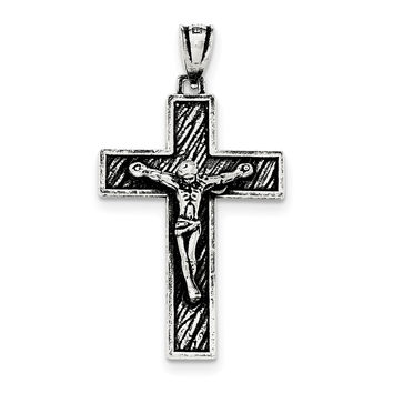 Sterling Silver Antiqued Large Box Cross Crucifix Pendant QC8295