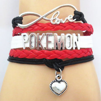 Infinity Love Pokemon Hand Made Leather Strap Bracelet - 50% Off
