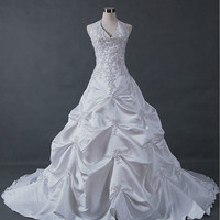 A-line/Princess Halter Cathedral Train Taffeta Wedding Dresses With Embroidery  Beading Free Shipping