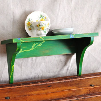Green Plate Shelf Hand Painted Spring Green by TheVelvetBranch