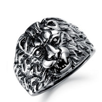 Silver Stainless Steel Lion Head Ring