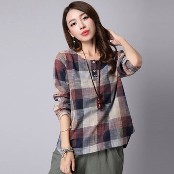 Plaid Long Sleeve Button Detail Blouse