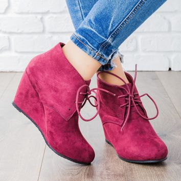 Faux Suede Lace-up Bootie Wedges