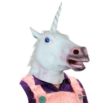 Magical Unicorn Mask Latex Animal Costume Prop Toys Party Halloween