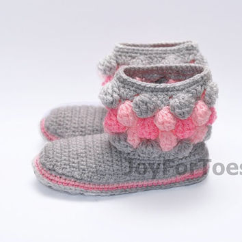 Crochet Women Boots Slippers for the House Tender Rose Teddy Bear Bubbles Custom Made