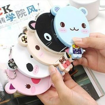 4PC Cute Animal Bear Cat Design Home Decoration Mirror with Comb Pocket Mirror Home Office Use