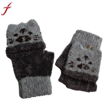 DCCKU7Q 1Pair Gloves Girls Boys Hand Wrist Warmer Winter Fingerless Button holds Gloves Mitten