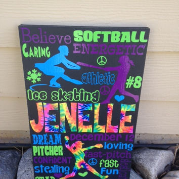 Personalized Wooden Ice Skater Sign Teen 12x20""