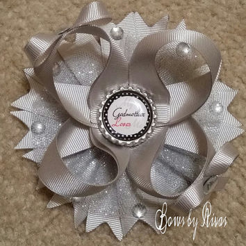 Silver Boutique Stacked Hair Bow with Glitter Tulle, Gems, and Bottle Cap Image My Godmother Loves Me