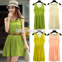 Elegant ElR8 Women's Sundress Double Pocket Pleated Dress with Belt 4Colors