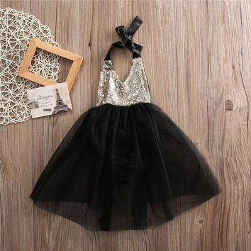 Fashion Lovely Baby Girls Sequins V-Neck Tulle Bow Tutu Gown Formal Party Lace Sleeveless Dresses 0-2Y