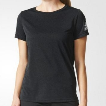 """Adidas"" Fashion Movement Leisure Pure Black Round Neck Short Sleeve T-shirt"