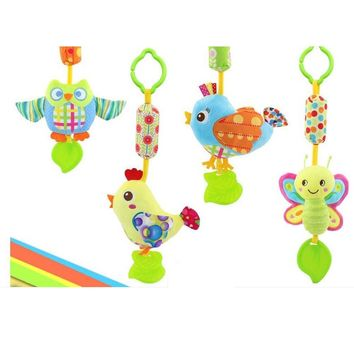 Baby Rattles & Mobiles With Teether: Bird/Butterfly/Owl/Chicken. Stroller, Crib, Hanging Wind Chimes