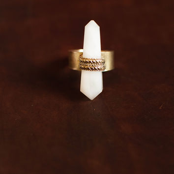 All Bound Up Stone Ring (White)