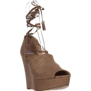 MICHAEL Michael Kors Hastings Lace-up Wedges, Dark Khaki Suede, 10 US / 41 EU