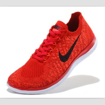 NIKE casual lightweight knitted running shoes Red and black