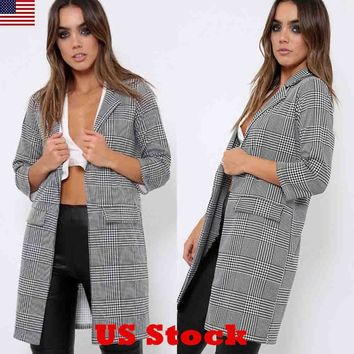 US Womens Plaid Check Long Sleeve Open Front Coat Blazer Cardigan Jacket Outwear