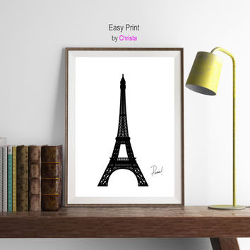 Printable art Paris Eiffel tower digital download French wall art Eiffel tower Eiffel  print Eiffel instant download Map art Modern wall art