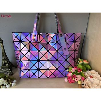 Kisumater 2017 Hologram bag  Wome Diamond Geometry Lattice bag Tote women's handbags laser silver bag  Super Quality