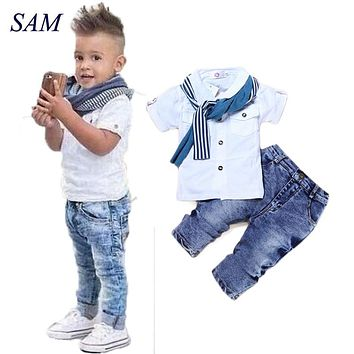 Baby Boy Clothes Casual T-Shirt+Scarf+Jeans 3pc Baby Clothing Set Summer Child Kids Costume For Boys 2019 Toddler Boys Clothes