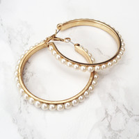 Pearl Talk Hoop Earrings