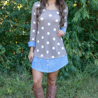 Polka Dot Print Long Sleeve Dress