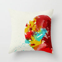 Super Heroes Painted: Iron Man Throw Pillow by Arian Noveir