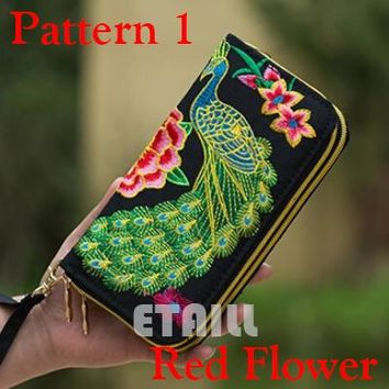 Peacock Thailand Boho Embroidered wallet