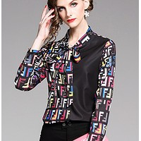Fendi Fashion New Multicolor More Letter Print Long Sleeve Women Top Shirt