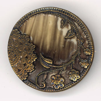 Buttons - Antique Celluloid and Metal Button - Lace and Floral with Celluloid Insert - Vintage Metal Picture Button