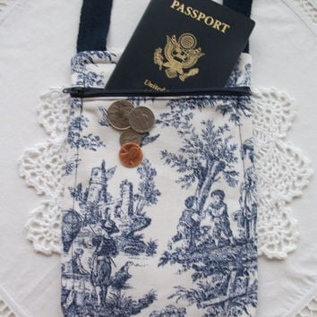 Neck Wallet French Toile Small Travel Pouch Passport Holder Crossbody Pouch Fabric Handmade Minimalist