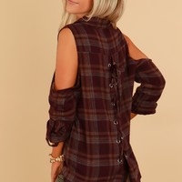 Cold Shoulder Plaid Top Burgundy