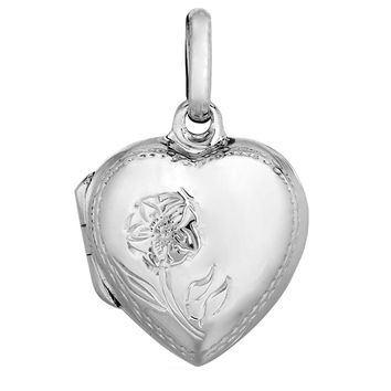 Sterling Silver With Rhodium Finish Floral Engraved On Puffed Heart Locket Pendant - 20 x 20 mm