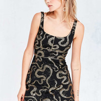 Ecote Metallic Boa Print Ponte Mini Dress - Urban Outfitters