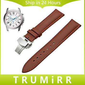 Genuine Leather Watchband for Fossil Q Tailor Gazer Founder Wander Crewmaster Grand Marshal Nate Watch Band Steel Buckle Strap
