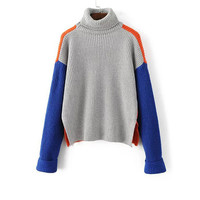 Grey Color Block Turtleneck Side Slit Sweater-2Colors