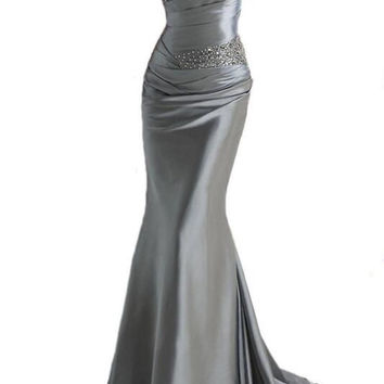 Strapless Simple Grey Satin Prom Dresses Evening Dresses