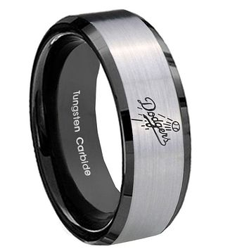 10mm LA Dogers MLB Baseball Beveled Brushed Silver Black Tungsten Mens Ring