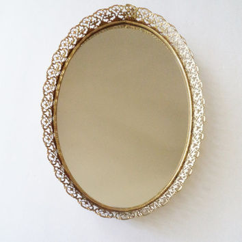 Vintage Midcentury Oval Vanity Tray - Mirrored Oval Tray with Gold Filigree Edges - Shabby Chic Hollywood Regency Decor