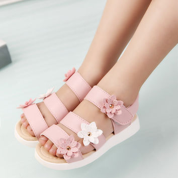 2016 Summer style children sandals Girls princess beautiful flower shoes kids flat Sandals baby girls Roman shoes