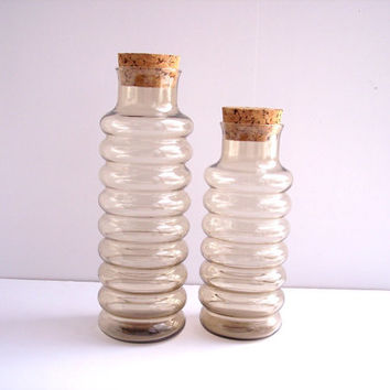 Vintage Holmegaard Pair Smoked Hooped Glass Primula Apothecary Jars(2)
